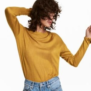 4/$30 H&M Mustard Yellow Hi Low Fine Knit Sweater
